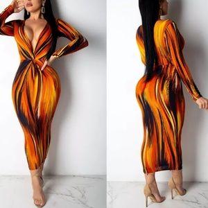 Women's Sexy Long Sleeve Deep V-Neck Dress